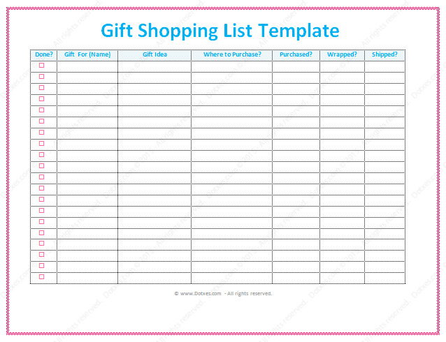 Gift List Template Word Dotxes