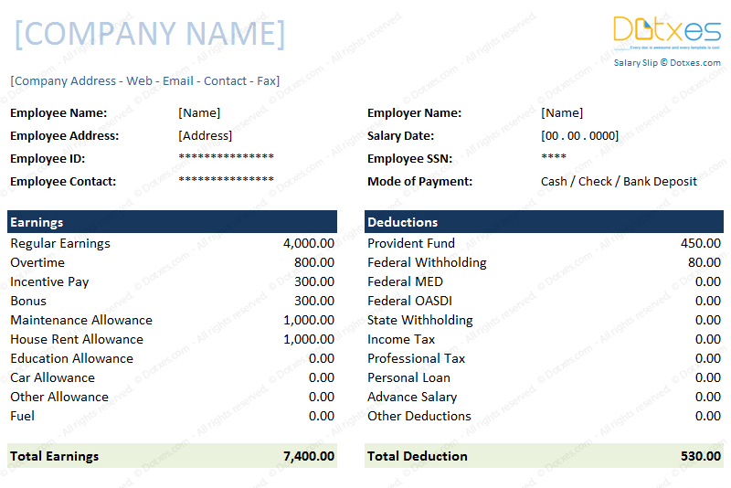 salary slip format for excel and word dotxes