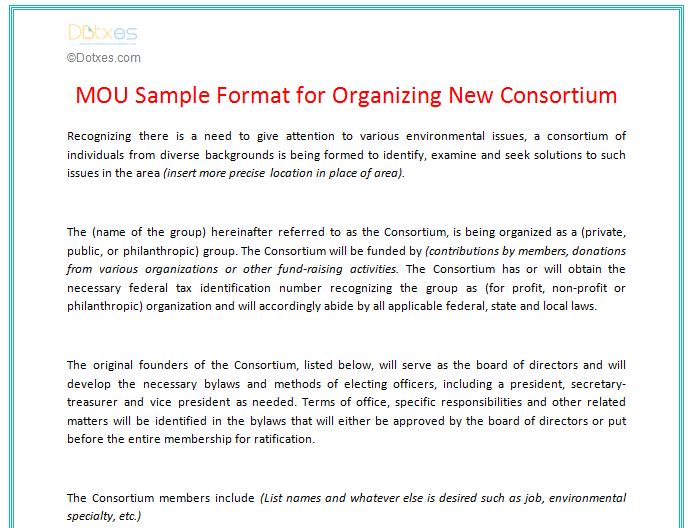 mou sample format for organizing new consortium