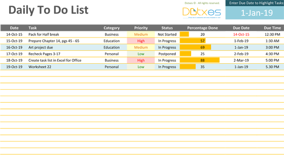daily to do list template dotxes