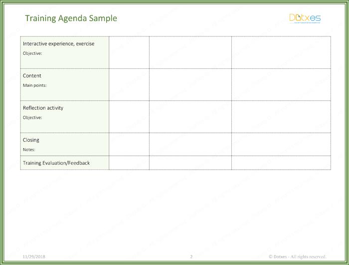 Training Agenda Template Page 02