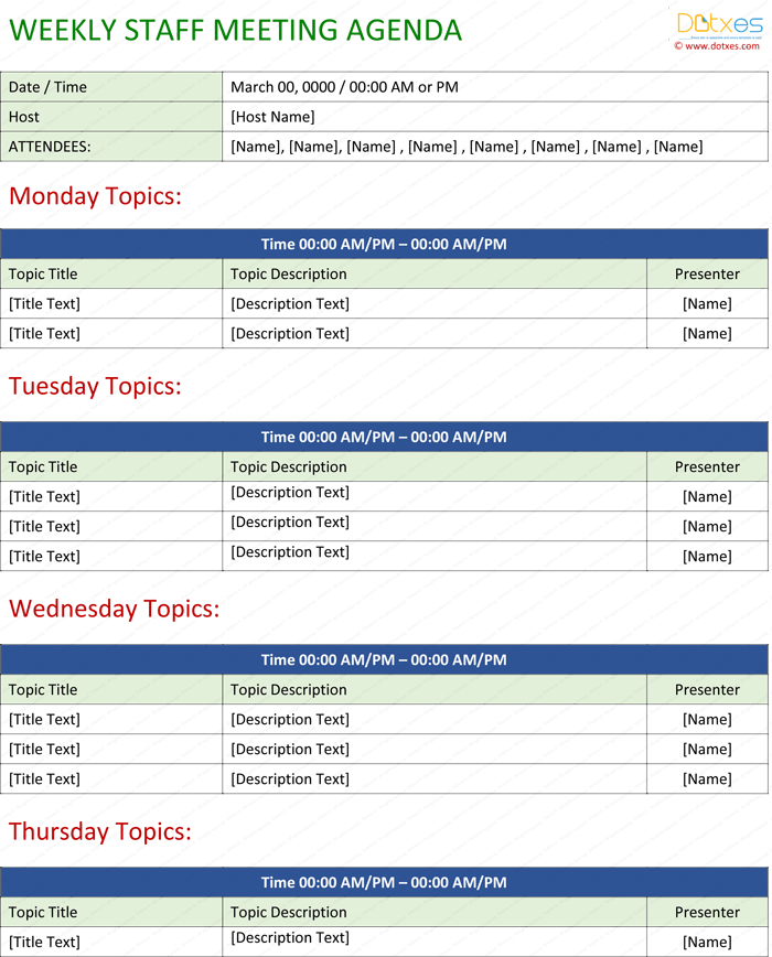weekly meeting minutes template - staff meeting agenda template write an effective agenda