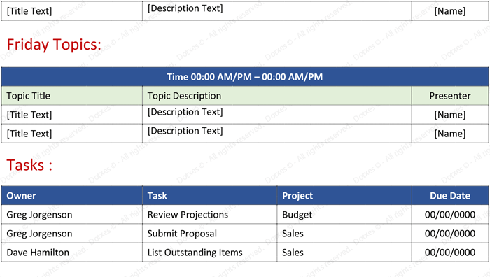 Weekly Staff Meeting Agenda Template Page 02