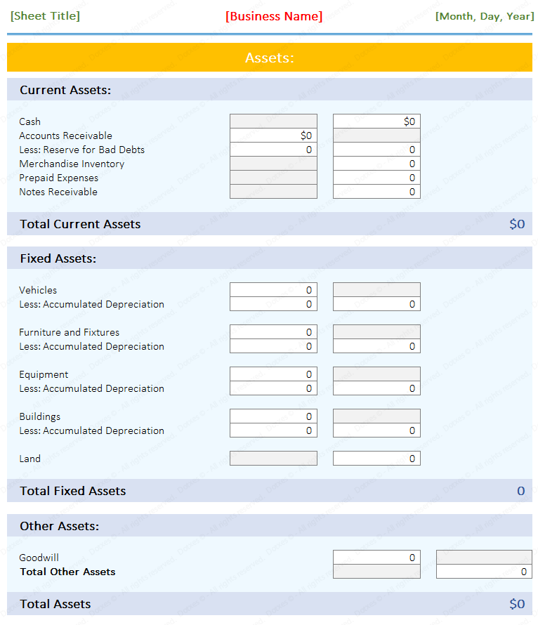 Blank Balance Sheet Sample Template