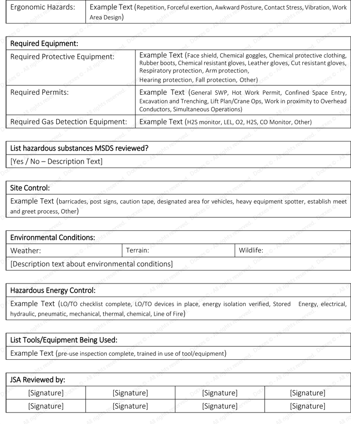 Job Safety Analysis Template for Microsoft® Word - Dotxes