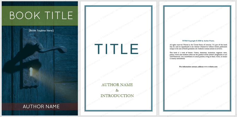 Book Cover Template Doc : Book templates dotxes