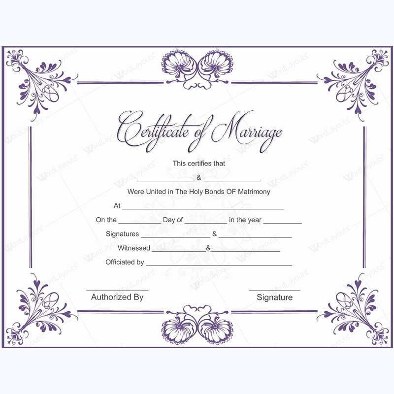 marriage certificate template - 5 plus adorable blank marriage certificate designs for word