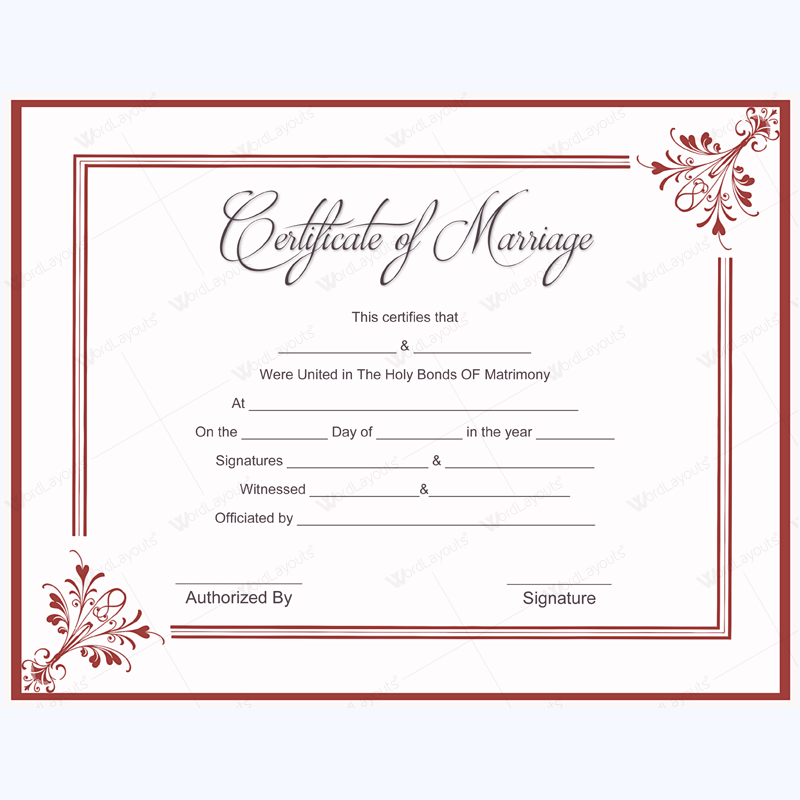 5 plus adorable blank marriage certificate designs for word Married to design
