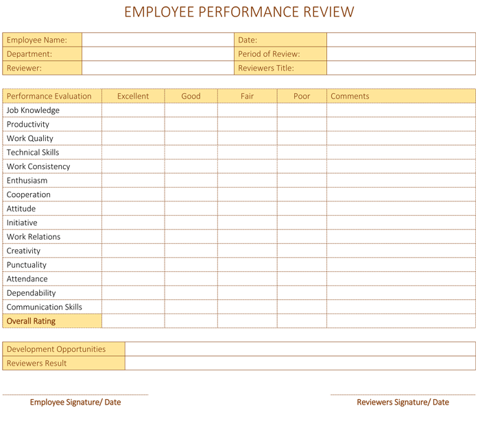 employee performance review template for word