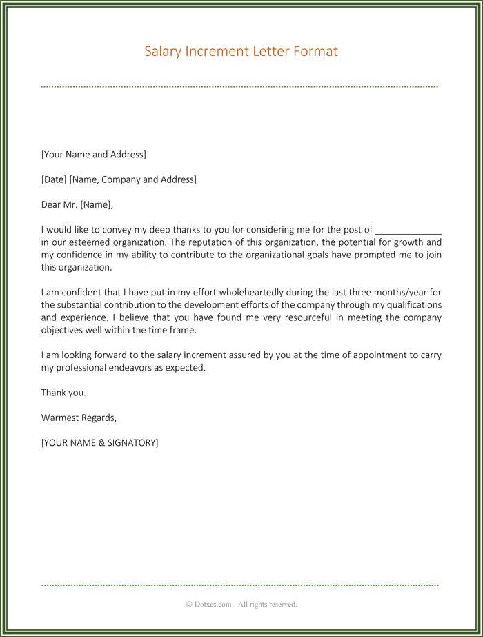 Pay Raise Letter Template  Pay Raise Letter