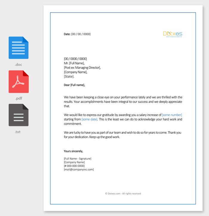 Salary increment letter 14 best printable samples and formats sample salary increment letter to employee altavistaventures Images