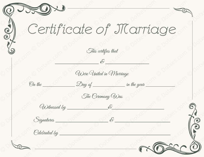 standard marriage certificate template