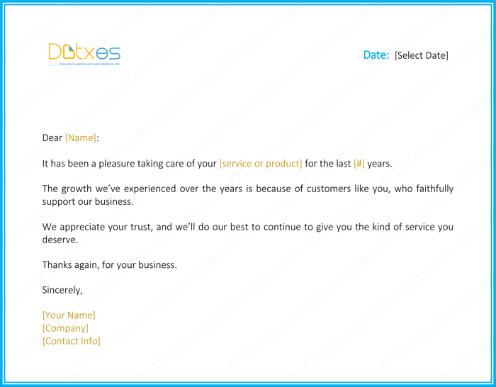 Customer thank you letter 5 best samples and templates for Customer service message template