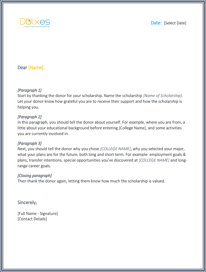 Scholarship thank you letter 7 sample templates you should send college scholarship thank you letter expocarfo Images