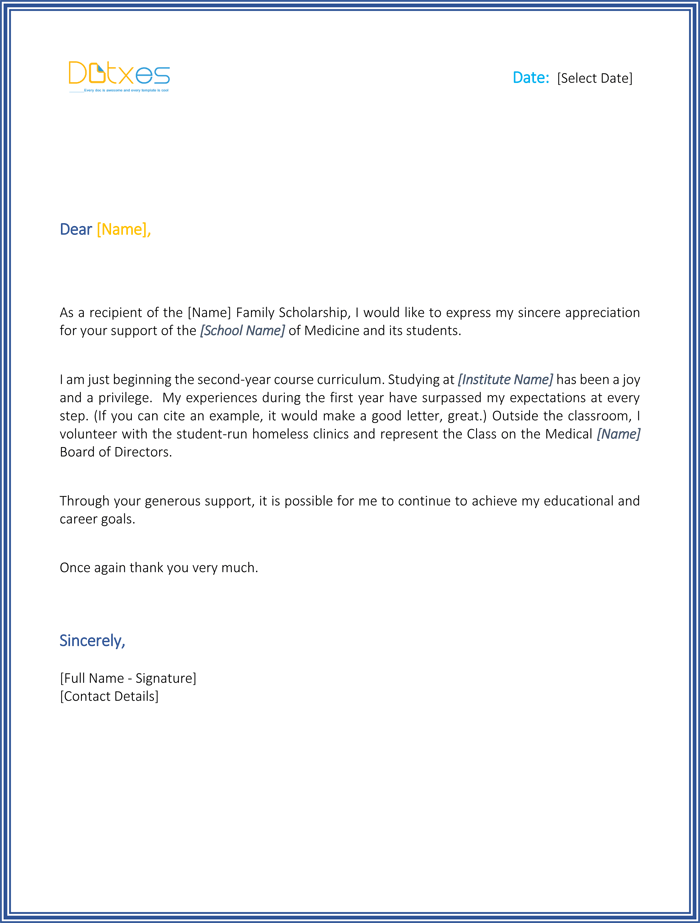 Scholarship thank you letter 7 sample templates you should send medical school scholarship thank you letter expocarfo Choice Image