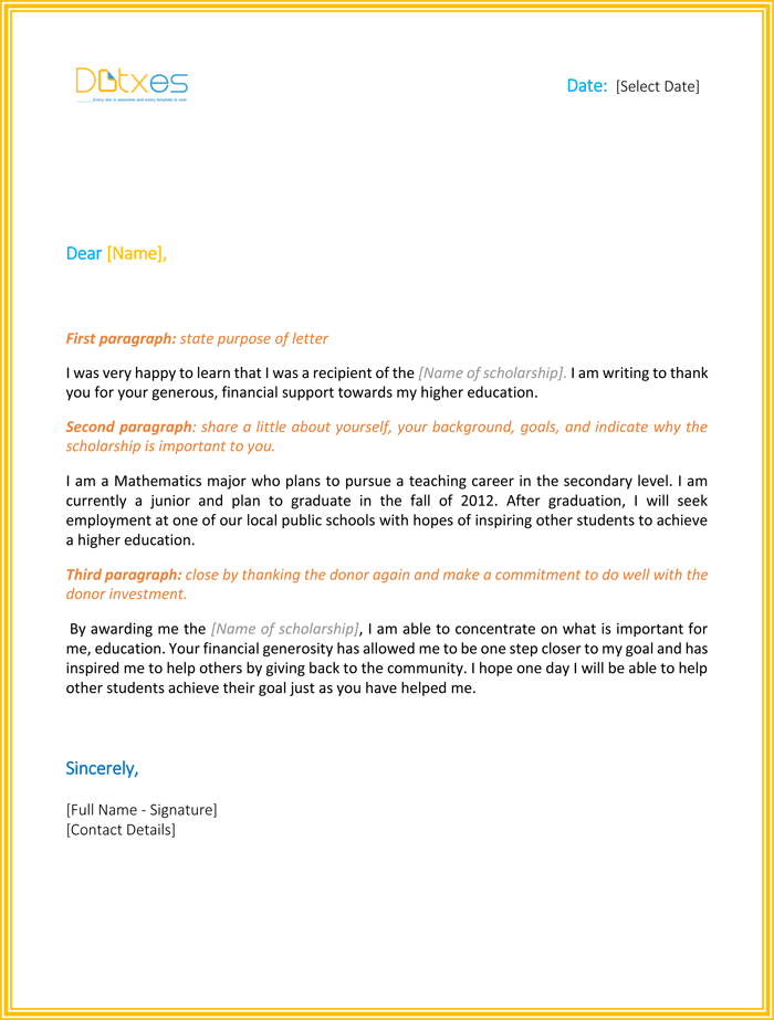 Scholarship Thank You Letter Sample Templates You Should Send - Scholarship thank you letter template