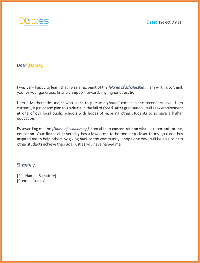 Scholarship thank you letter 7 sample templates you should send scholarship thank you letter for high school expocarfo Image collections