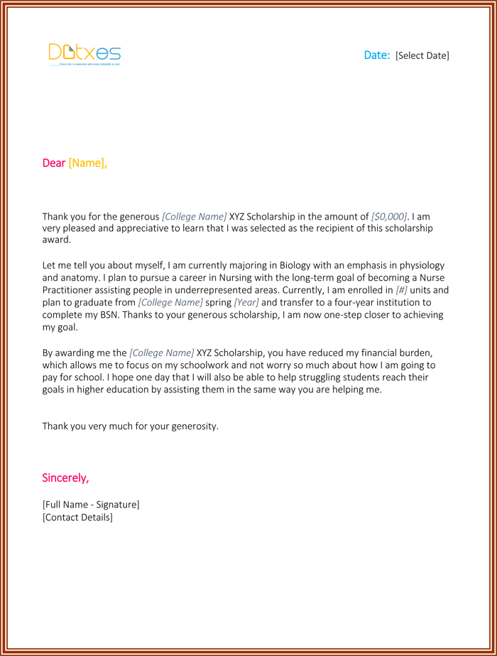 Scholarship thank you letter 7 sample templates you should send scholarship thank you letter for nursing expocarfo Choice Image