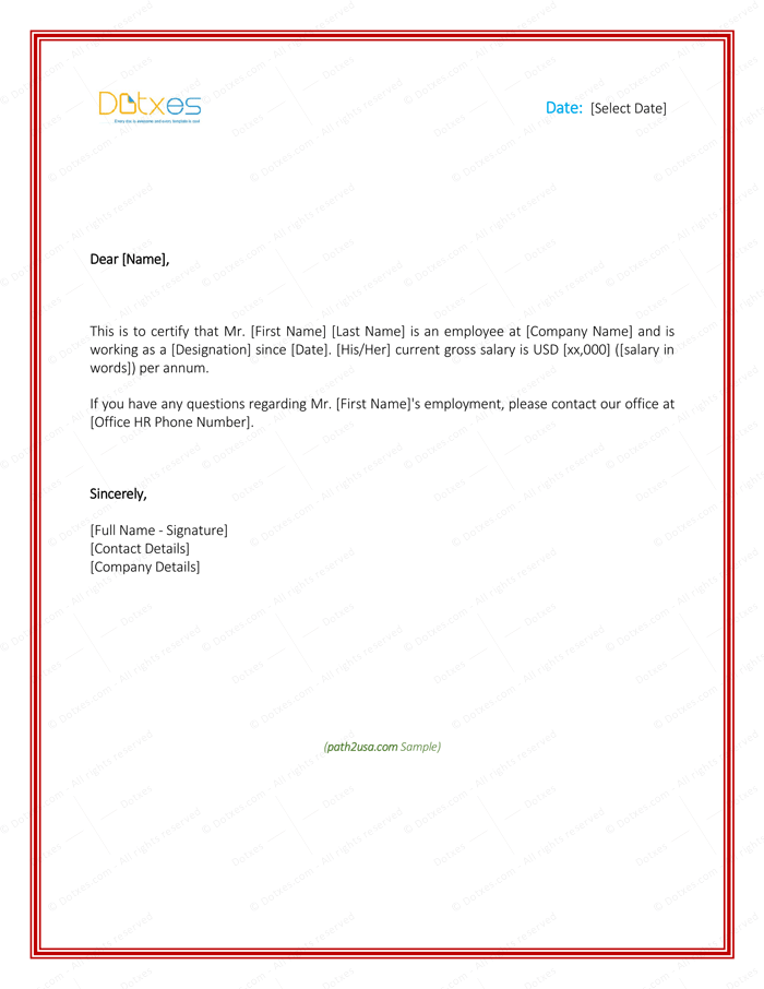 Employment verification letter 4 printable formats samples employment verification letter for visa spiritdancerdesigns