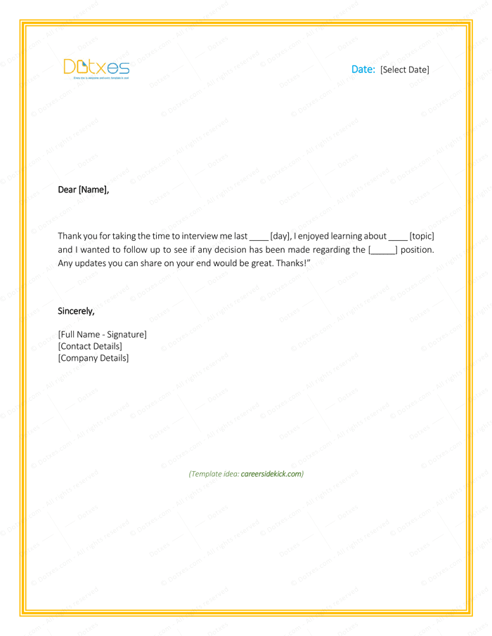 Sample thank you letter after interview 5 plus best templates dotxes follow up email after interview for no response altavistaventures Image collections
