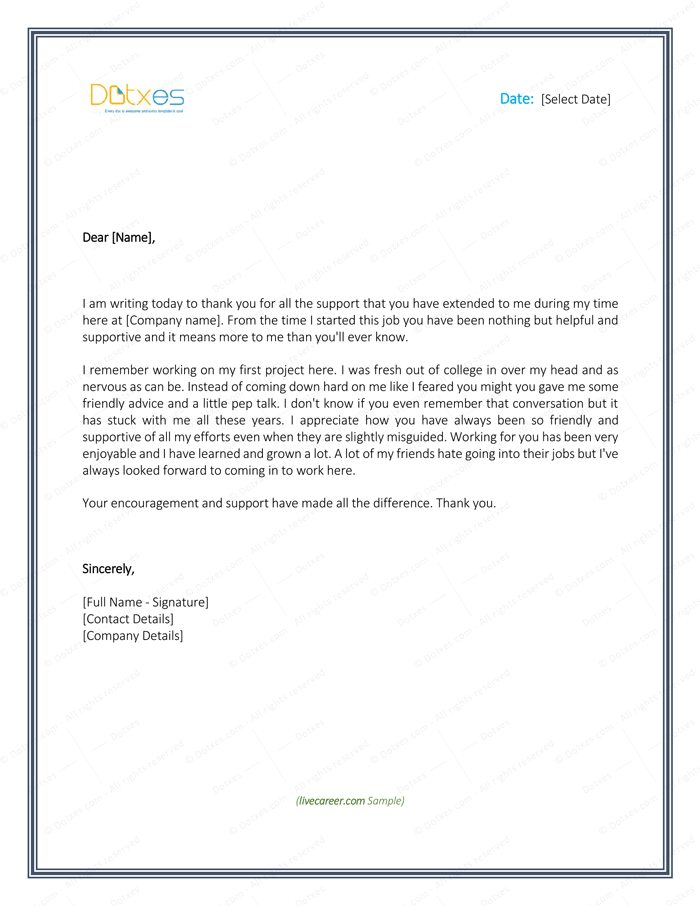 Free Sample Thank You Letter To Boss For Support