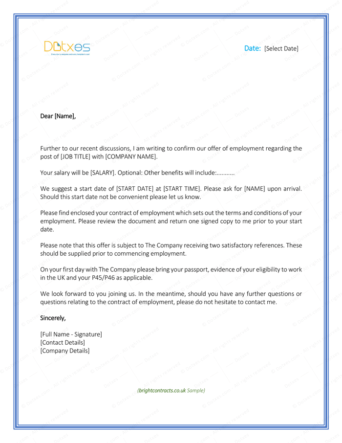 Job Offer Letter Download Free Formats and Sample for Word Dotxes