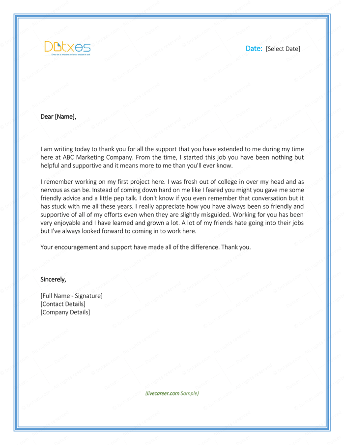 Thank You Letter To Employer Download Free Samples And