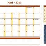 April 2017 Calendar with Holidays