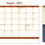 August 2017 Calendar with Holidays