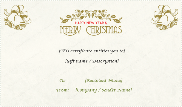 Christmas Gift Certificate (Light Floral Design)