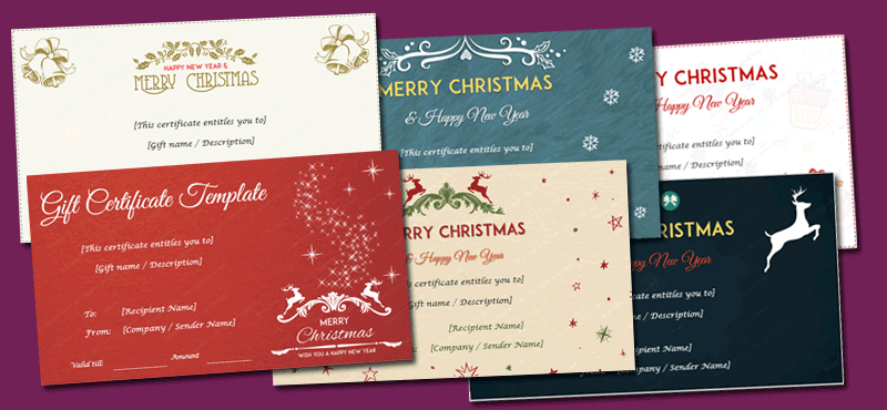 christmas gift certificate templates editable and printable designs