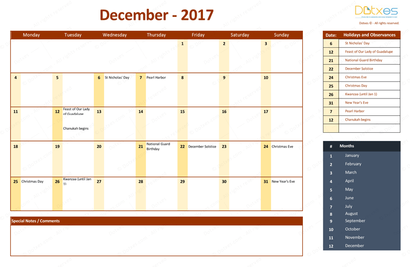 December 2017 Calendar with Holidays