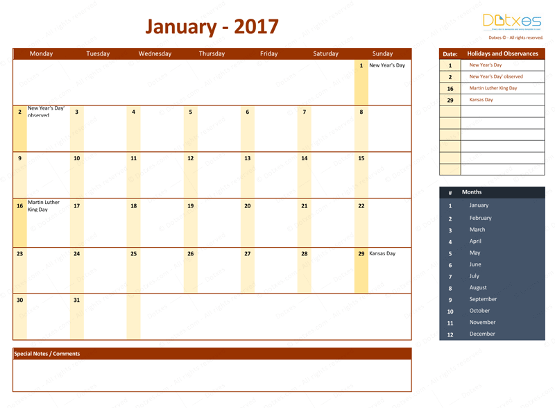 January 2017 Calendar with Holidays