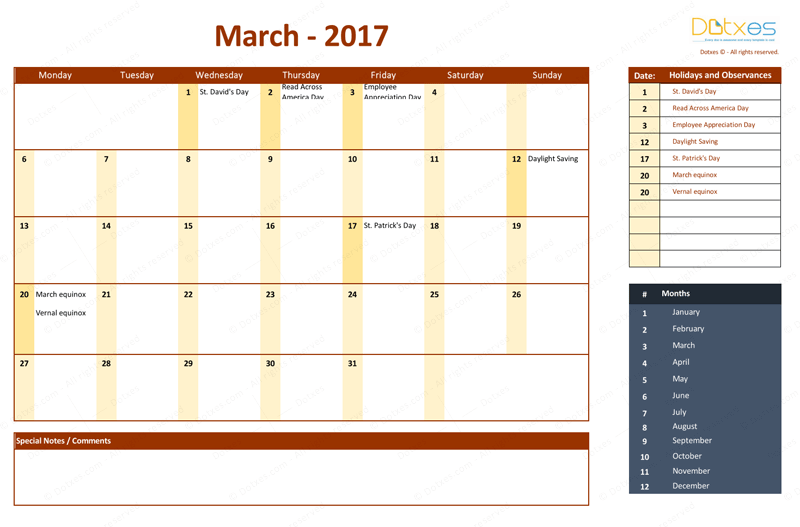 March 2017 Calendar with Holidays