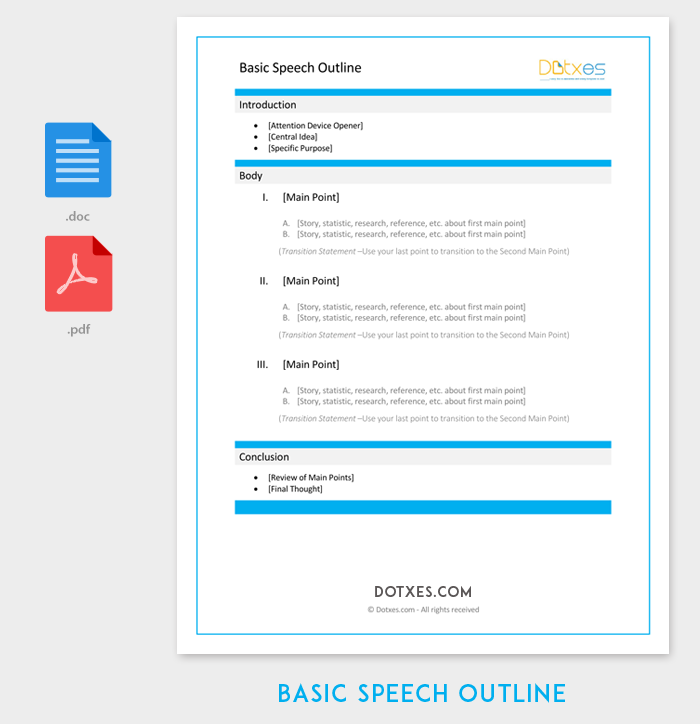 Speech Outline Template 38 Samples Examples And Formats