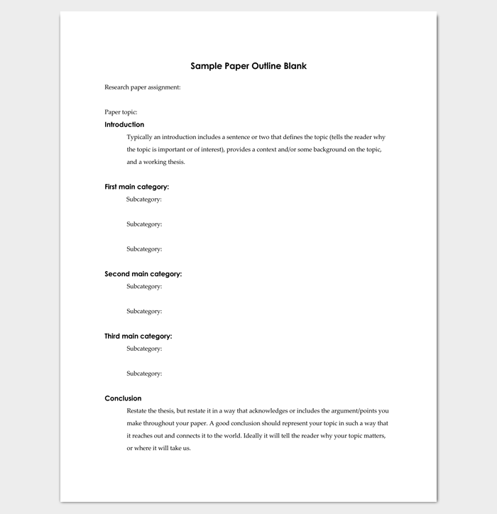 Research paper outline template 36 examples formats for Blank apa format template