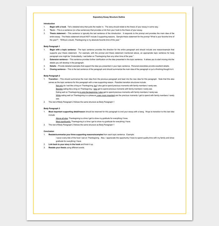 Expository Essay Outline Sample for Word