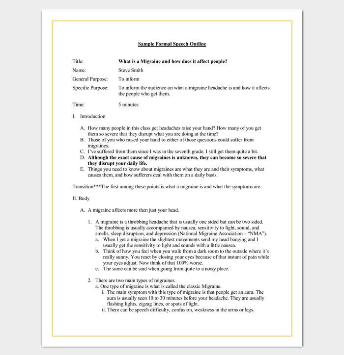Formal Speech Outline Template for Word