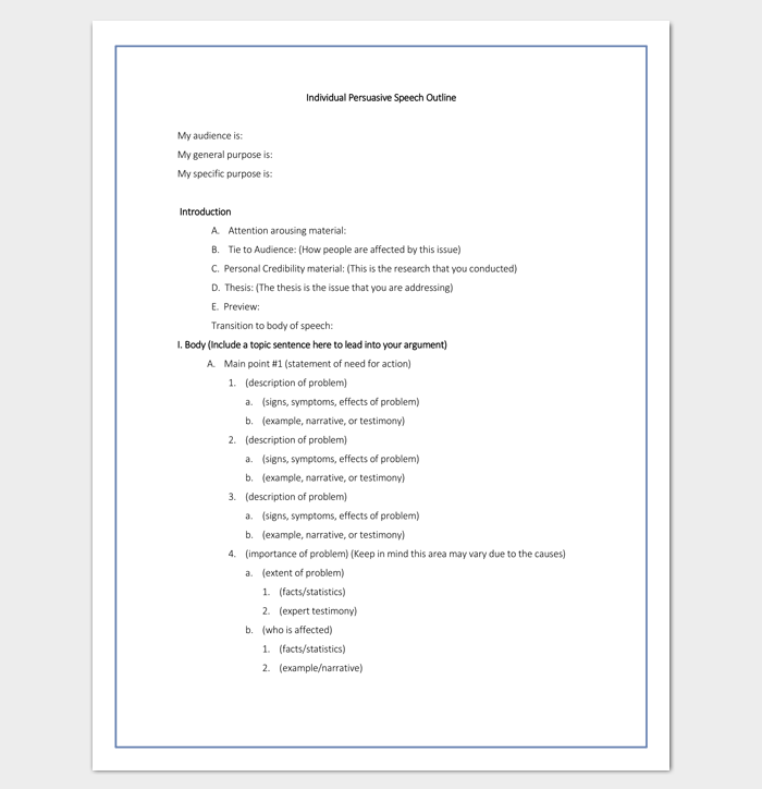 Speech outline template 38 samples examples and formats for Narrative speech outline template