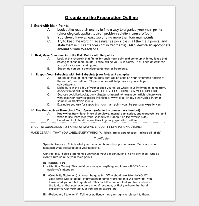 informative presentation outline for pdf