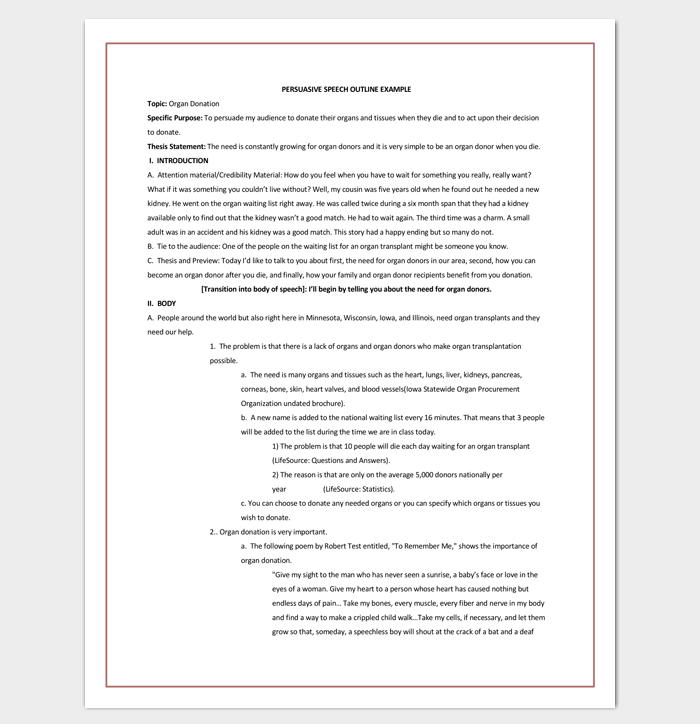 Persuasive Speech Outline Template - 15+ Examples, Samples & Formats