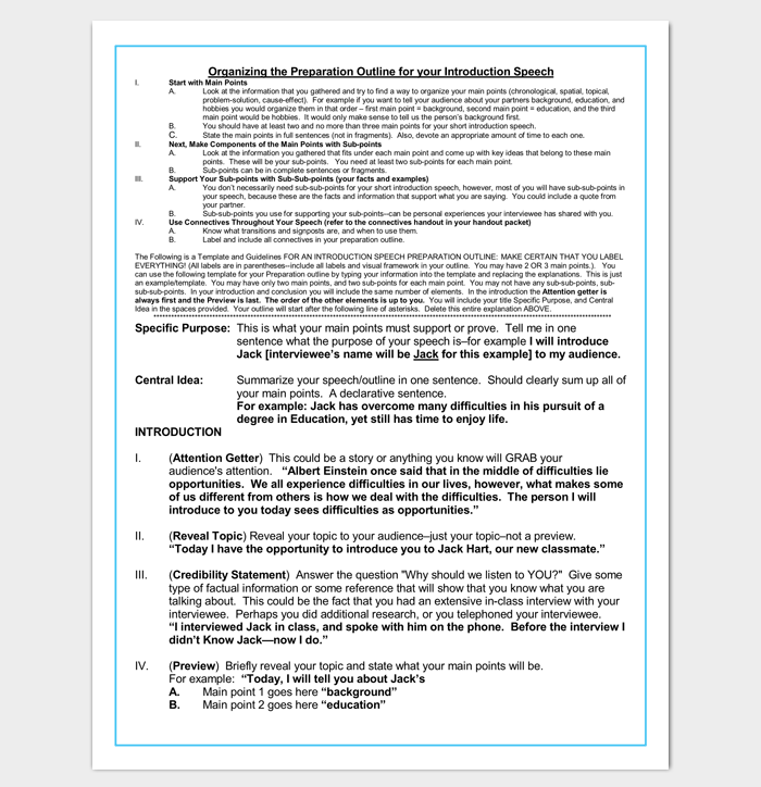 Preparation Outline Template for Introduction Speech