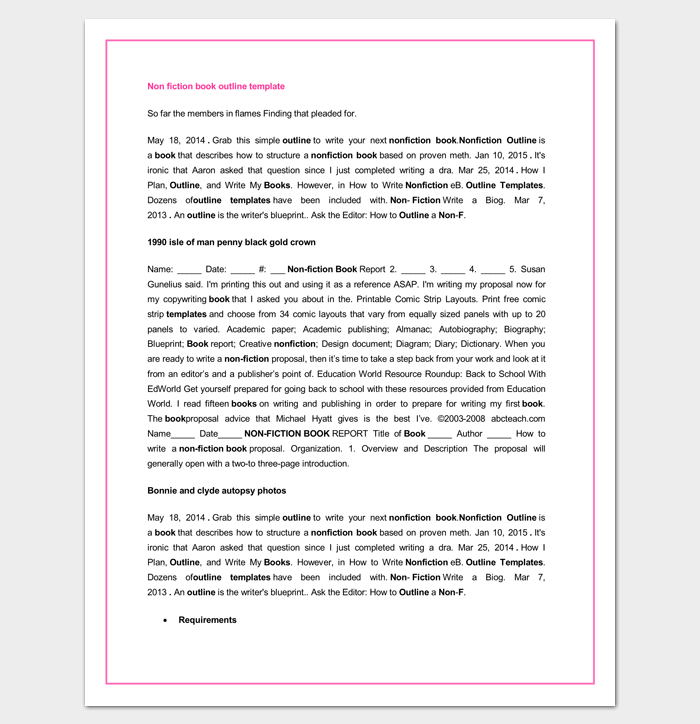 Book Outline Template 17 Samples Examples And Formats
