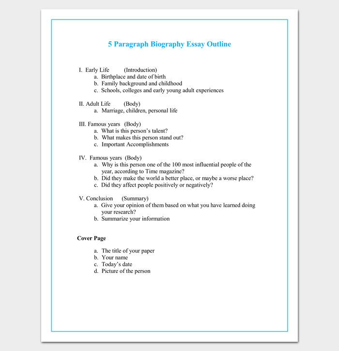 Autobiography Outline Template - 23+ Examples and Formats