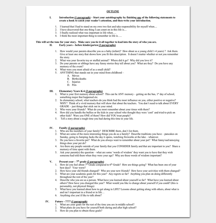 Autobiography outline template 23 examples and formats autobiography outline for students solutioingenieria Images
