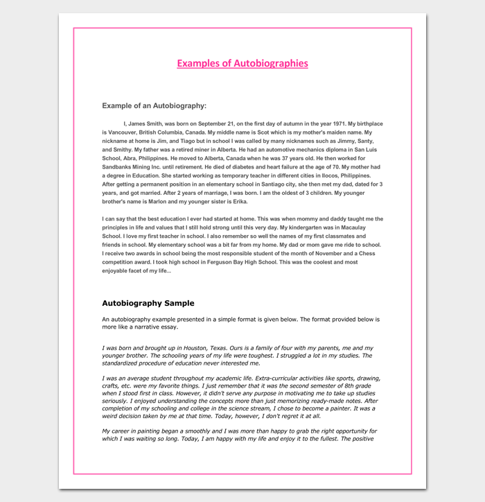 Autobiography outline template 23 examples and formats for Sample biography template for students