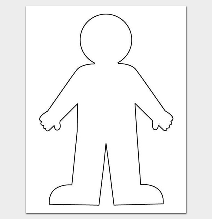 Blank Body Outline Template for Kids