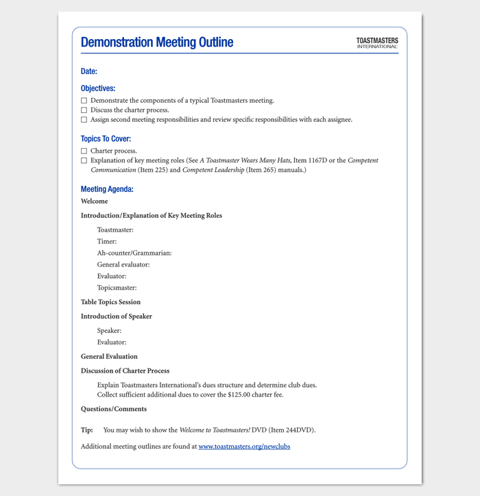 Meeting outline template 13 formats examples and samples demonstration meeting outline template yadclub Image collections