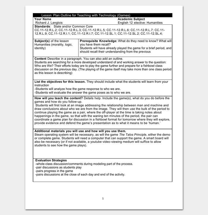 Lesson plan outline template 23 examples formats and samples example for teaching lesson plan outline thecheapjerseys Image collections