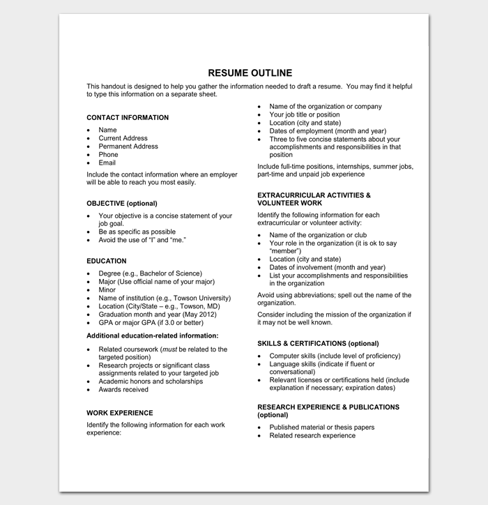 Free Resume Outline Format